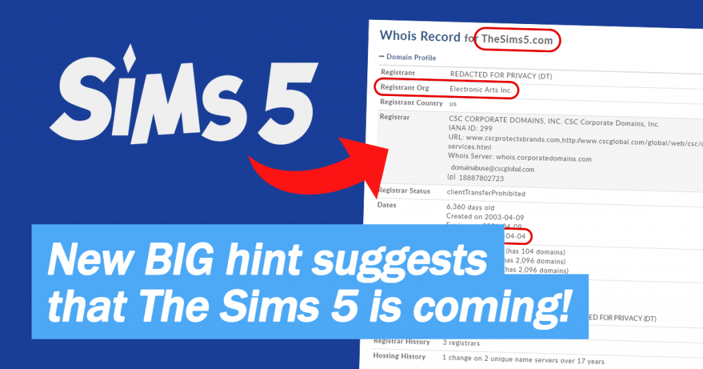 Domain registration suggests that The Sims 5 is on its way