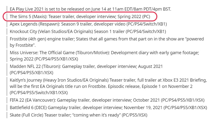 According to a source on 4chan and Reddit, EA will announce The Sims 5 soon